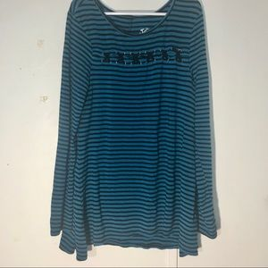 Justice Long sleeved blue and black pinstripe top